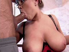 Cute busty milf sucks dick and fucks from behind