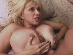 Blond mature w big tits sucks cock n gets titsfuck