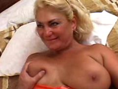 Blonde mom has all types fuck on bed in diff poses