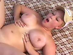 Busty babe fucked on bed
