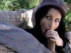 Skinny cockloving slut sucks farmers cock outdoor