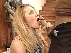 Blonde pounded on stairs