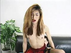 Asian tranny takes sausage in ass