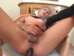 Platinum blonde shemale jerking off