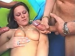 Ardent girl gets duble cumshot from tranny and guy