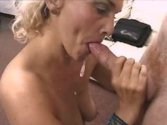 Blonde hot mature sucks cock and gets cum in mouth