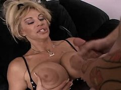 Busty mature fucks in all poses n gets cum on tits