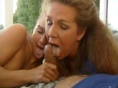 Hot mature and girl get facial after all types sex