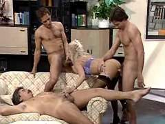 Three guys fucking beauty blonde milf in all holes