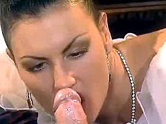 Lady sensual takes dick in mouth