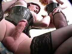 Two shemales in stockings suck cocks each other