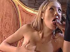 Lustful call girl making sensual oral job on knees