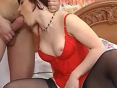 Smooth vixen in black stockings fucking with bloke