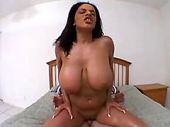 Busty babe dances on dick