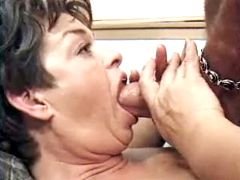 Mom gags on beefy dick