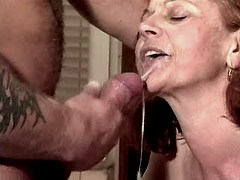 Aged mature fucks in kitchen and gets fresh facial