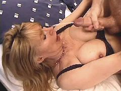 Blonde mature fucks in all holes and gets facial