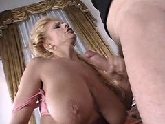 Blond mature fucks n gets cum on big tits and face