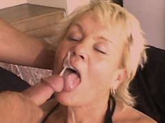 Blonde mature fucks from behind and gets facial