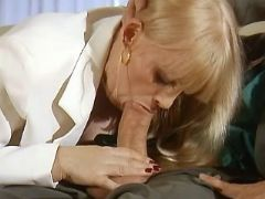 Mature throats cock and rides him