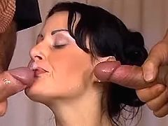 Hot babe get double facial after DP