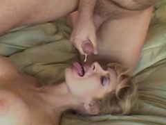 Busty milf gets facial after fuck in all positions