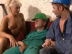 Blonde seduces workers