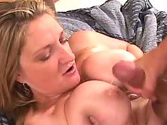 Mature gets cream on tits