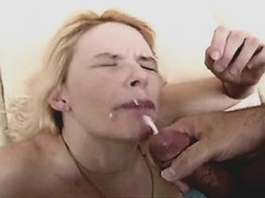 Blonde mature does amazing blowjob and gets facial