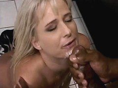 Blonde mature has fuck with blacky and gets facial