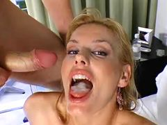 Smoking hot milf getting mouthful of dick juice