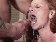 Aged hungry mature fucks in kitchen and drinks cum