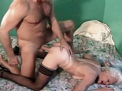 Elder lewd mature sucks n gets fuck in doggy style