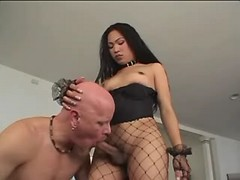 Asian shemale gets perfect blowjob from bald bloke